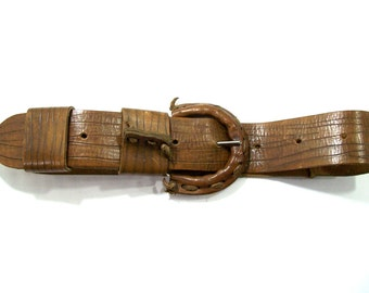 Women's vintage brown leather belt, Vintage leather accessories
