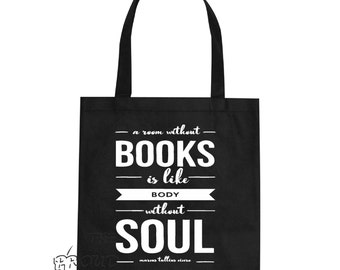 A room without books is like a body without soul marcus tullius cicero Quote art typography trendy womens tote bag