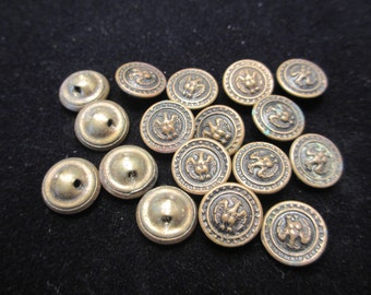 Matching Set of 17 VINTAGE Brass Metal US Military Eagle BUTTONS- Two Piece Construction