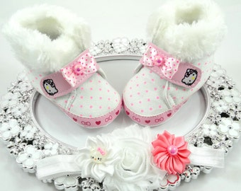 Baby Girl Booties and Headband Set, Newborn Baby Girl Shoes, Shower Gift, Gift for Baby, Baby Accessories