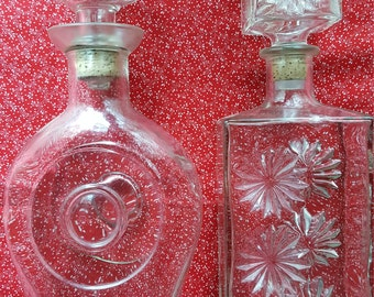 Vintage etched glass decanters Lot of 2