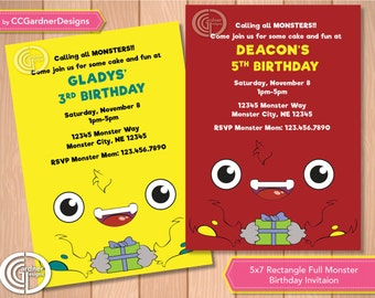 Monster Present Birthday Party Invitation, For boy or girl invite, Full page monster, Rectangle furry monster party invite