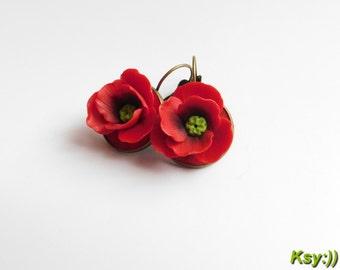 Poppy earrings Red Poppy Earrings Poppies Flower Red Earrings Poppy Jewelry Red Jewelry Gift for Her Polymer Jewelry