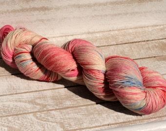 Hand dyed sock yarn, Hand dyed merino superwash yarn, hand dyed pink blush sock yarn, Indied pink superwash yarn, sock yarn