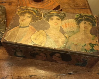 Vintage wooden decoupaged box