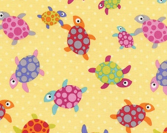 8.00 Yard -  Timeless Treasures Sunkissed Swimmers Sea Turtle Toss Multi Color on Light Yellow - PRE-WASHED - sea life - - KIDZ-C4145