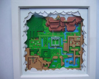 Legend of Zelda Hyrule 3D Map Diorama Art Snes Super Nintendo