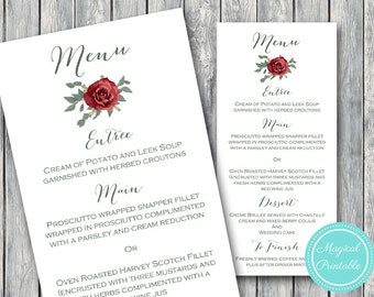 Printable Wedding Menu, Custom Wedding Menu Printable, Wedding Menu Template - Digital File, DIY Print WD14 WM03