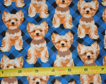New!  1/2 Yard of Yorkie - Dog Fabric - Yorkshire Terrier Dog 100% Cotton Quilt Fabric