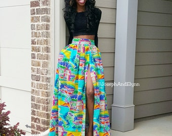 Caribbean Sun Reggae Ocean Maxi Skirt with Slit or No Slit (XS - 6XL)