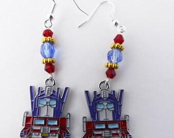 Transformers Autobot Optimus Prime Swarovski crystal earrings cosplay jewelry