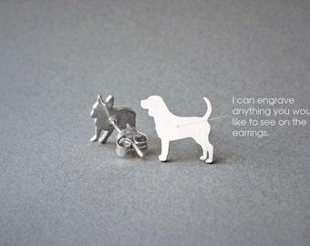 BEAGLE NAME Earrings - Dog Breed Earrings • Beagle • Name Earring • Custom Earring • Dog Gift • Dog Earring • Beagle Gift