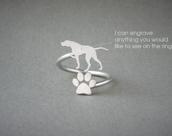 Adjustable Spiral ENGLISH POINTER and PAW Ring / English Pointer Ring / Paw Ring / Dog Ring / Silver, Gold Plated or Rose Plated.