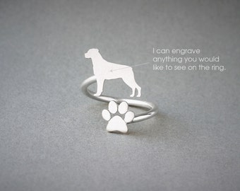 Adjustable Spiral ROTTWEILER and PAW Ring / Rottweiler Ring / Paw Ring /Dog Ring / Silver, Gold Plated or Rose Plated.