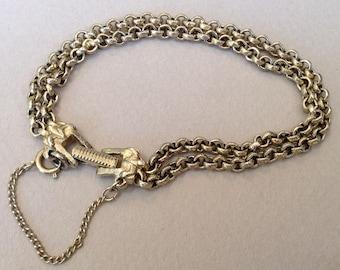 Goldette Double Strand Signed Chain Bracelet