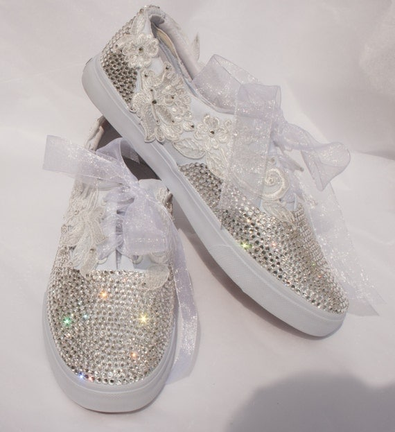 wedding converse style trainers with by thecherishedbride