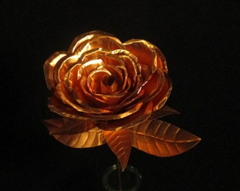 Hand crafted Copper Large Rose #2, larger than the large rose.