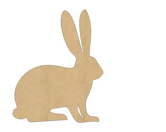 Rabbit Cutout Shape Laser Cut Unfinished Wood Shapes, Craft Shapes, Gift Tags, Ornaments #794 All Sizes