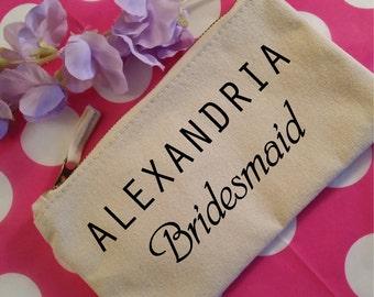 Custom Makeup Bag with Name. Bridesmaid Makeup Bag. Bridesmaid Gift. Wedding Gift. Custom Printed Name. Maid of Honor