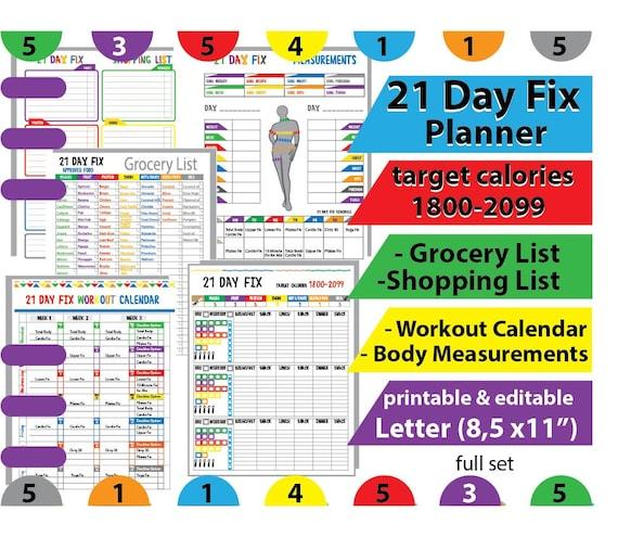 21 DAY FIX Tracker, Beach Body Tracker , 21 day fix Workout Calendar ...