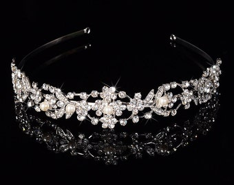 Bridal Tiara Headpiece Headband Crystal Rhinestone and Pearl Silver Plated