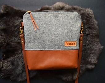 Grey herringbone crossbody bag, genuine leather crossbody purse, fall crossbody purse, fall crossbody bag, grey crossbody bag