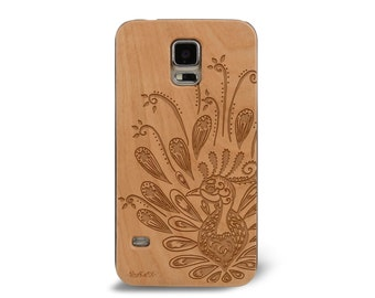 Laser Engraved Zentangle Doodle Inspired Paisley Peacock on Genuine Wood phone Case for Galaxy S5, S6 and S6 Edge S-050