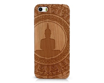 Laser Engraved Mayan Aztec Themed Mandala with Hindu Meditating Buddha on  Wood phone Case for  iPhone 5/S 6/S and  6 plus IP-057