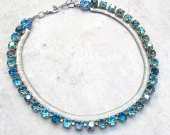 Swarovski Wedding Necklace Crystal Necklace Aqua Necklace for Women Turquoise Necklace Blue necklace Swarovski Necklace