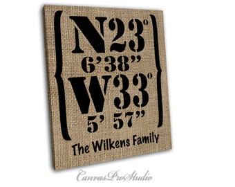 Custom Canvas,Burlap imitation on canvas Personalized Latitude and Longitude Coordinates, Housewarming Gift Family Name Art.