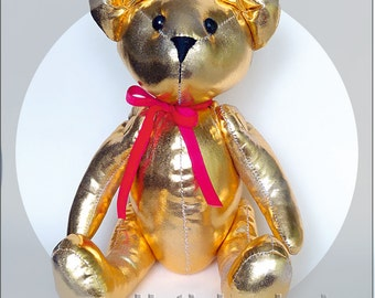 Memory bear, Golden Bear, Artist teddy bea, Keepsake bear, Teddy ooak, Baby safe plush toys, Custom plush toys, Important dates sign, Softie