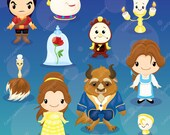 Beauty and the Beast clipart, Beauty, Princess clipart, Princess digital clipart, disney inspired clipart -LN0104-
