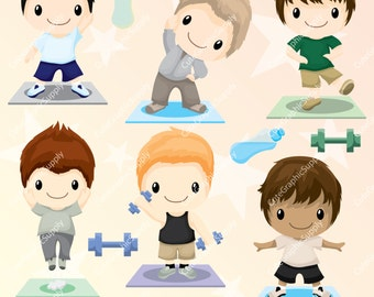 Fitness clipart, work out clipart, fitness boys clipart, yoga clipart, gym clipart, routine clipart, sports clipart -LN099-