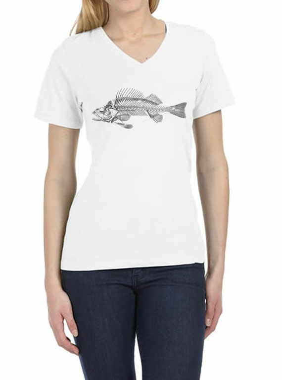 Hand Printed T Shirt Antique Fish Skeleton