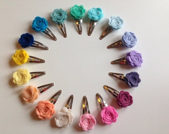 Flower Hair Clip. felt flower snap clips, flower hair accessories - small