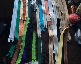 "Vintage Lot 43 Zippers 7"" to 24"""