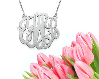 Modern Monogram Necklace (silver)