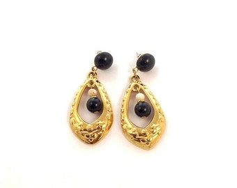 Vintage Napier Goldtone Black & Off White Dangle/Drop Earrings