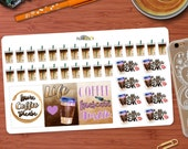 Iced Coffee Quotes & Coffee Break Sticker set of 36 stickers Perfect for your Erin Condren Life planner or any other planner!