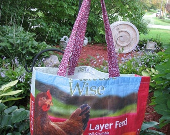 Upcycled/Recycled Reusable Chicken  Feed Sack Tote Shopping Bag