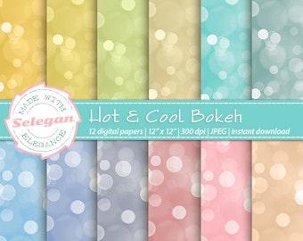 Hot & Cool Bokeh, Digital Paper, Scrapbooking, Paper, 12x12, Printable, Fade, Pattern, Bokeh, Texture, Lighting, Background