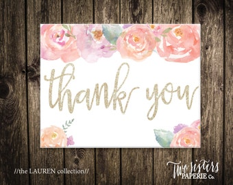 Printable Thank You Card - The LAUREN Collection - Bridal Shower Thank You - Printable Card - Instant Downalodm