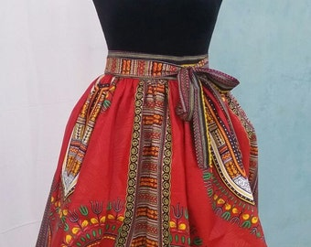 FORII Red Dashiki Skirt