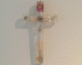To Own a Love- Resin cross with bones, flowers, charms, clear resin