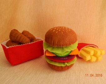 Felt hamburger set. (+Gift ). Hamburger with fries and chicken nuggets - play food set. Felt hamburger. Felt food.