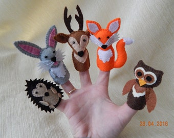 Forest animal finger puppets. (+Gift). Felt finger puppets. 5 forest animals. Animal finger puppets.  Felt animals.