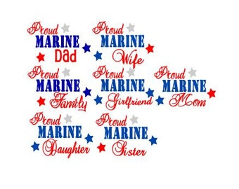 Proud Marine Family Files SVG, Studio 3, PDF, AI, dxf, ps; Cutting Files for Electronic Cutting Machines