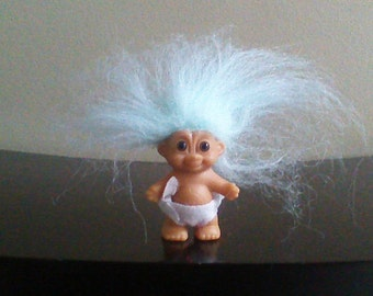 Vintage Russ Troll Doll Baby with Diaper Light Blue Hair Trolls 2""