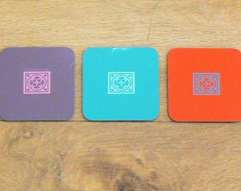 Morocco style Coasters, Drink coasters, Pink coasters, Teal coasters