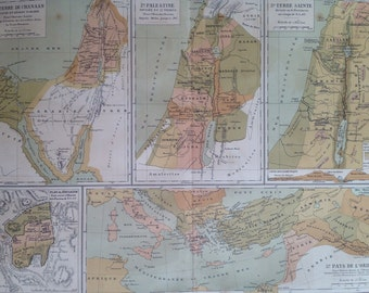1903 PALESTINE in different ages Antique Map - Israel - Holy Land - Canaan - French Language Map - Geography - Cartography - Historical Map